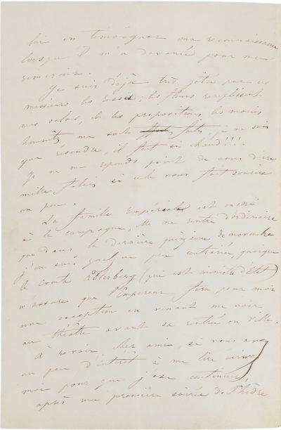 Lettre de Rachel en Russie - Patrimoine Charles-André COLONNA WALEWSKI, en ligne directe de Napoléon