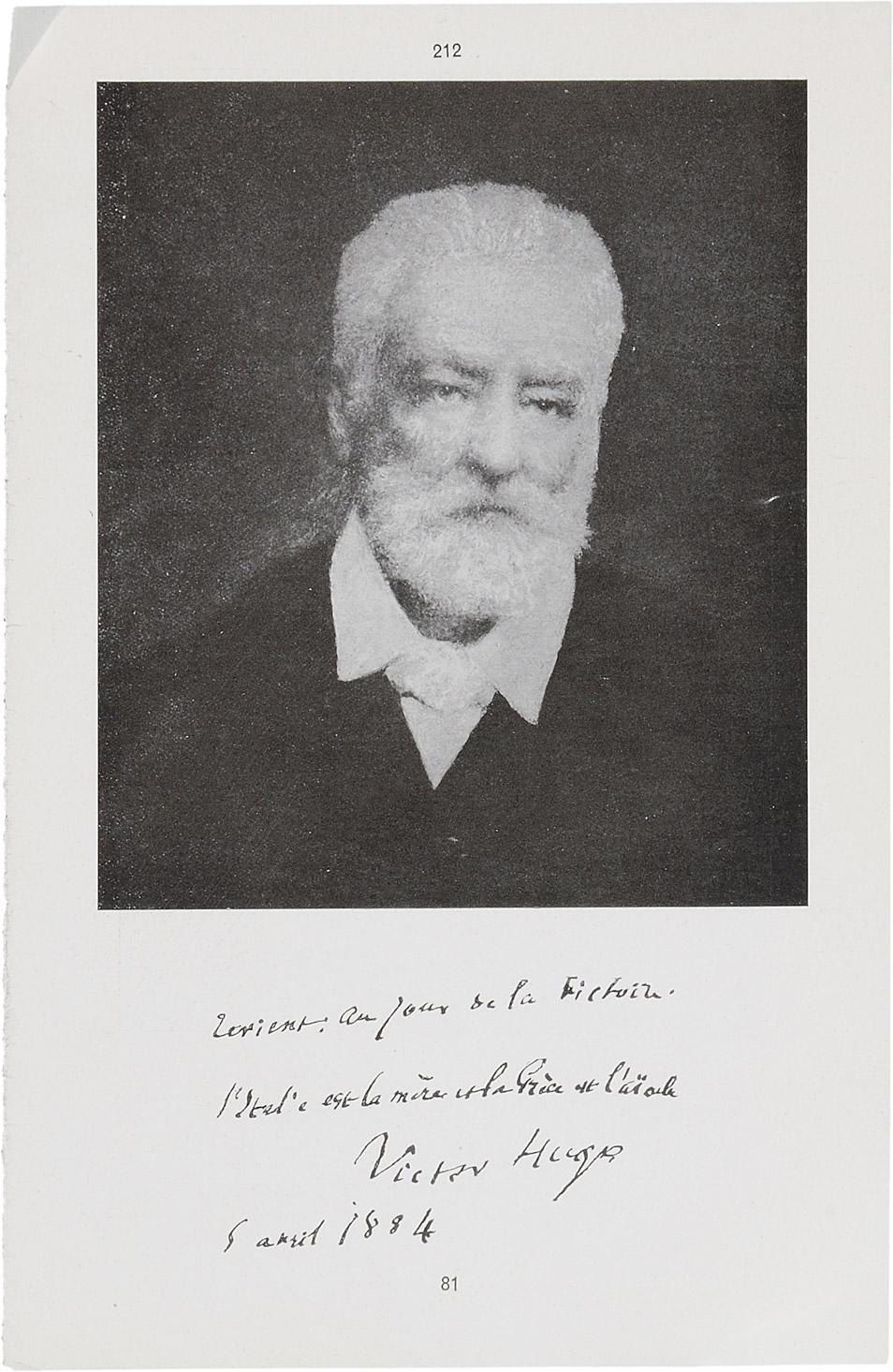 Note de Victor Hugo, 5 avril 1884 - Patrimoine Charles-André COLONNA WALEWSKI, en ligne directe de Napoléon