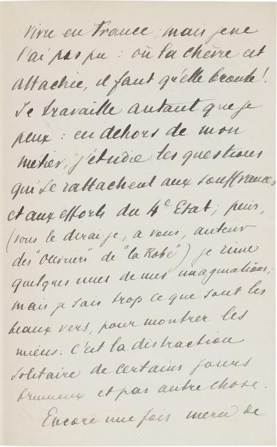 Lettre d'Alexandre II Walewski à Eugène Manuel - Patrimoine Charles-André COLONNA WALEWSKI, en ligne directe de Napoléon