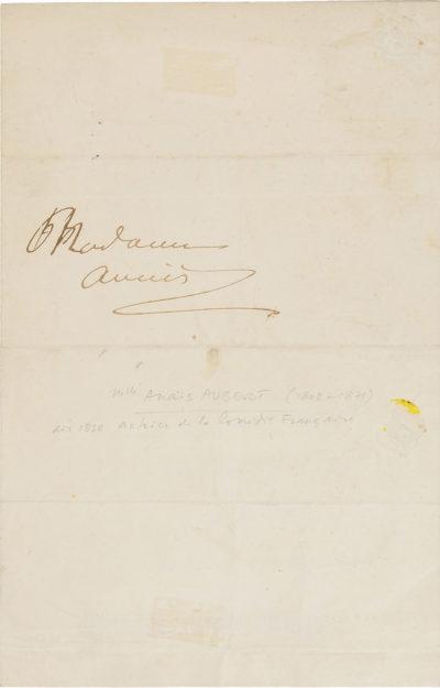 Lettre d'Alexandre Walewski I à Anaïs Aubert - Patrimoine Charles-André COLONNA WALEWSKI, en ligne directe de Napoléon