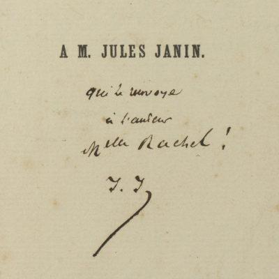 """""""Le moineau de Lesbie"""" de Barthet, dédicacé à Rachel - Patrimoine Charles-André COLONNA WALEWSKI, en ligne directe de Napoléon"""