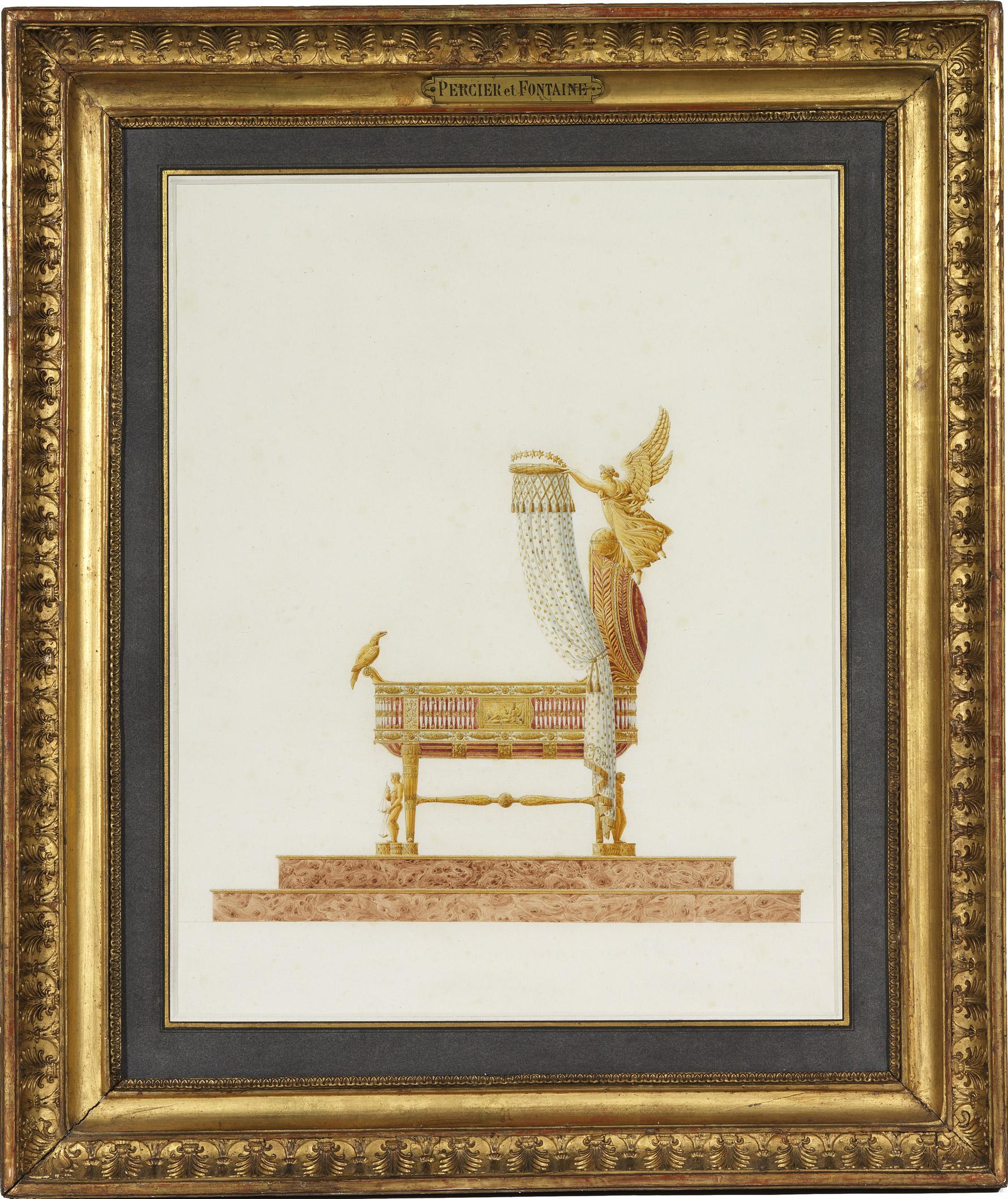 Modèle du berceau du Roi de Rome, deux dessins de Percier - Patrimoine Charles-André COLONNA WALEWSKI, en ligne directe de Napoléon