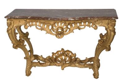 Console en bois sculpté et redoré style Régence - Patrimoine Charles-André COLONNA WALEWSKI