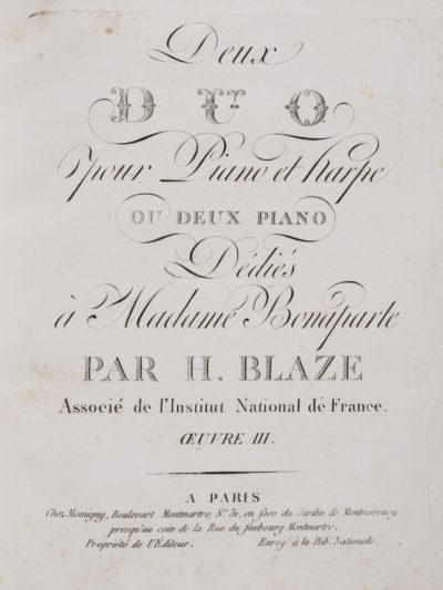 Partition pour deux duo piano harpe - Patrimoine Charles-André COLONNA WALEWSKI