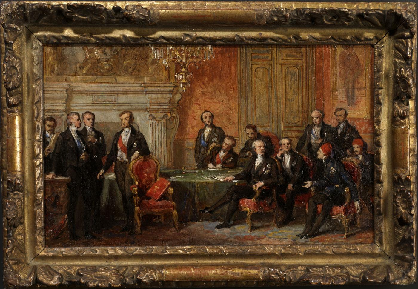 Esquisse pour le congrès de Paris, le 30 mars 1856 - Patrimoine Charles-André COLONNA WALEWSKI, en ligne directe de Napoléon