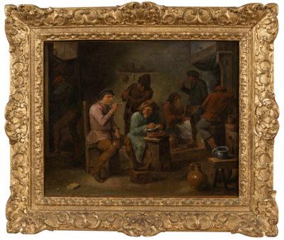 Les fumeurs - école flamande du XVIIIe siècle
