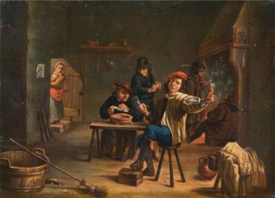 Dans le goût de David Teniers - intérieur de taverne - école flamande du XVIIIe siècle