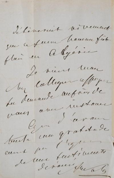 Lettre à un collègue - Patrimoine Charles-André COLONNA WALEWSKI