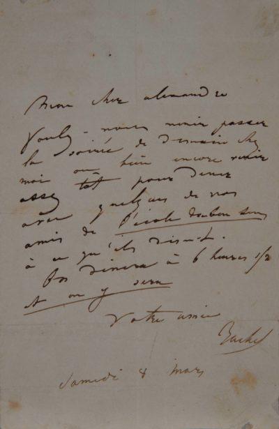Lettre de Rachel à Alexandre, 8 mars