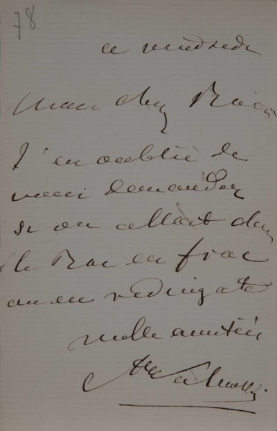Lettre manuscrite d'Alexandre Colonna Walewski
