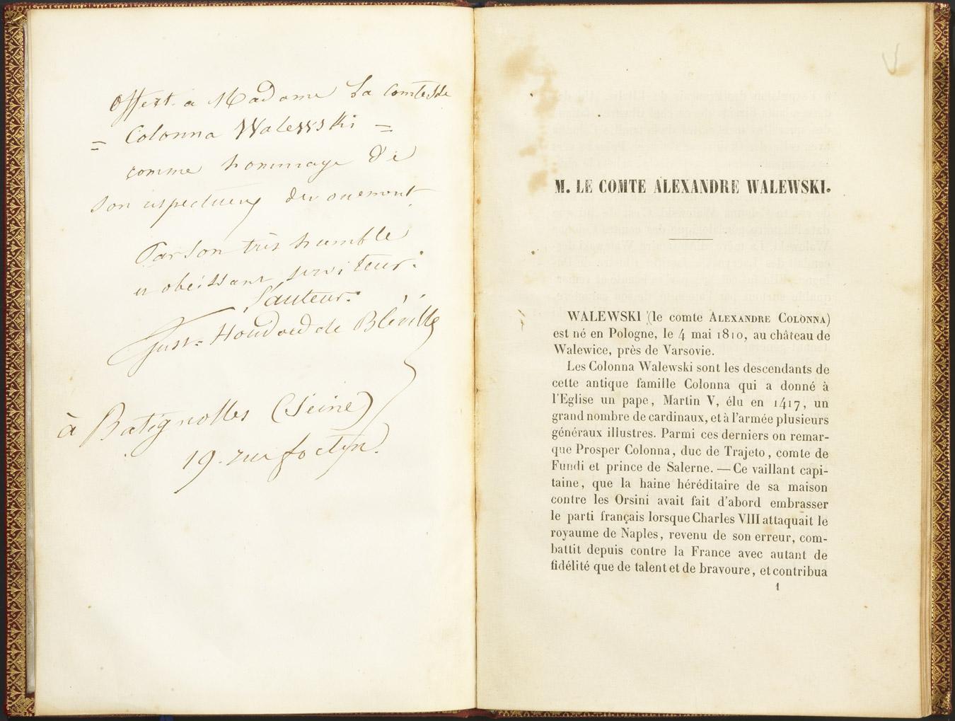 Livre sur Alexandre Walewski - Patrimoine Charles-André COLONNA WALEWSKI, en ligne directe de Napoléon