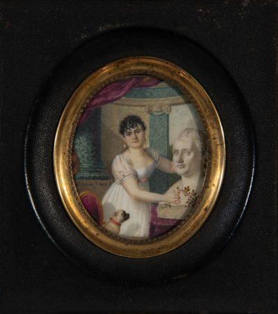 Miniature de Mlle Mars devant le buste de l'Empereur
