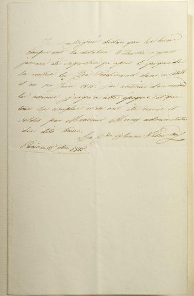 Déclaration de Marie Walewska concernant la dotation Walewski - Patrimoine Charles-André COLONNA WALEWSKI, en ligne directe de Napoléon