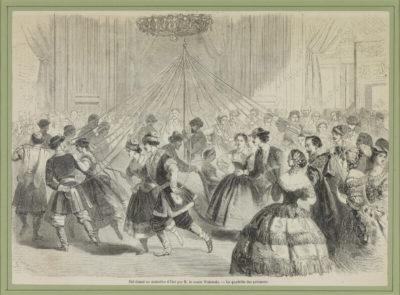 Lithographie : Bal donné par M. le comte Walewski - Patrimoine Charles-André COLONNA WALEWSKI, en ligne directe de Napoléon