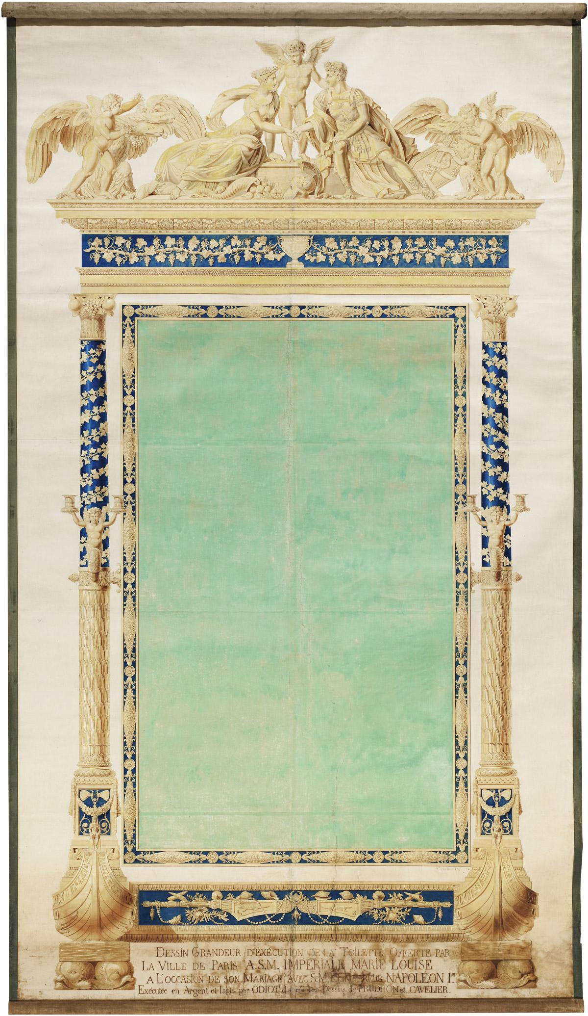Carton à grandeur de la psyché de l'impératrice Marie-Louise - Patrimoine Charles-André COLONNA WALEWSKI, en ligne directe de Napoléon