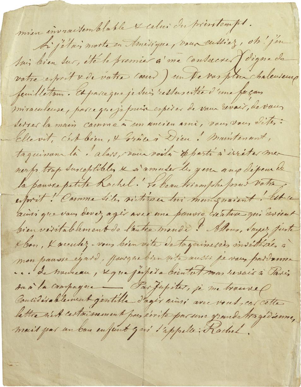 Lettre de Rachel à un journaliste - Patrimoine Charles-André COLONNA WALEWSKI, en ligne directe de Napoléon